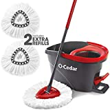 O-Cedar System Easy Wring Spin Mop & Bucket with 2 Extra Refills, Red/Gray