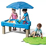 Step2 Cascading Cove Sand & Water Table with Umbrella   Kids Sand & Water Play Table with Umbrella   6-pc Accessory Set Included