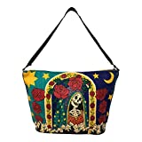 SpiritStar Sugar Skull Purse: Day of the Dead Inspired Daily Travel Bag Made with 100% Cotton (Santa Muerte)