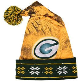 NFL Green Bay Packers Light Up Printed Santa Hat, One Size, Green