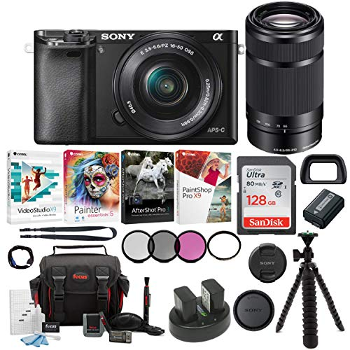 Sony Alpha a6000 Mirrorless Camera w/16-50mm & 55-210mm Lenses & 128GB Bundle
