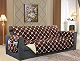 Elegant Comfort Luxury Bloomingdale Pattern Reversible 2-Tones Quilted Furniture Protector Slipcover, Featured Smart Pockets and Elastic Straps, Pets and Kids Protection, Sofa, Chocolate/Cream