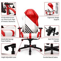 Furgle Office Gaming Chair Racing Style High-Back Office Chair w/4D Adjustable Armrests PU Leather Executive Ergonomic Swivel Video Game Chairs with Rocking Mode
