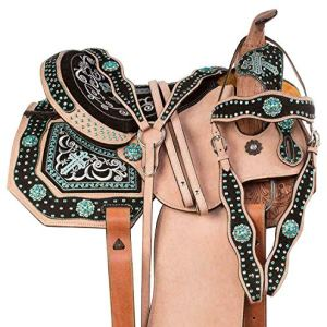Blue Lake Premium Leather Barrel Racing Pleasure Trail Leather Western Horse Saddle Equestrian with Free Tack Set Size…