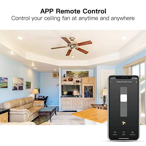 Treatlife Smart Ceiling Fan Control, 4 Speed Fan Switch for Ceiling Fan, Neutral Wire Required, Smart Home Devices that Works with Alexa and Google Home, Remote Control, Schedule, No Hub Required