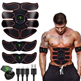 HAIJIXING ABS Stimulator Abs Muscle Toner EMS Portable Rechargeable Gym Workout Training and Home Office Fitness Toning Belt Equipment for Abdomen