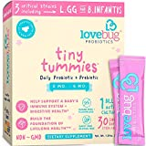 Lovebug Tiny Tummies Probiotic, 30 Packets, Infant & Baby probiotics Support for Babies 0-6 Months Old, Oral Probiotics Kids - Helps Reduce Crying & Fussiness