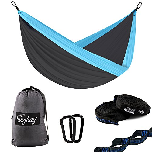 """Camping Hammock for Two- Lightweight Nylon Portable Hammock, Tree Double Hammock with Tree Straps for Outdoor Backpacking, Camping, Travel, Beach, Yard. 126""""(L) x 78'(W) Xtra -Large"""