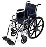 Medline Excel 2000 Wheelchair, 18' Wide Seat, Desk Length Arms, Swing Away Footrests, Navy Upholstery, Chrome Frame