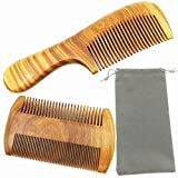 Hair Combs - Handmade Natural Aroma Green Sandalwood Wooden Comb Set - No Static Fine Sides & Wide Tooth Hair Care Styling Tools Beard Comb for Men Women and Kids