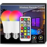 JandCase 10W Color Changing Light Bulb, A19 E26 RGB+Cool+Warm White LED Bulbs, 60W Equivalent, 900LM, Dual Memory, Remote Control Multicolor Bulbs for Home Decor, Mood Lighting, Party, 2 Pack