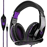 SADES 20170508-1 Stereo Gaming Headset PS4 Xbox One X, Anivia A9S Wired Over Ear Headphone with Mic for PC MAC Laptop Mobile iPad Nintendo Switch Games(Black Purple)