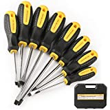 HARVET Professional 8PCS Magnetic Cushion Grip Screwdriver Set with Case, Slotted and Phillips Tips, Repair Toolkit For Wet, Oily Hand Work