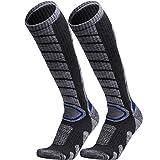 WEIERYA Ski Socks 2 Pairs Pack for Skiing, Snowboarding, Cold Weather, Winter Performance Socks Grey Medium