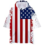 Summer Men's Short Sleeve Casual Flag Print Decor Striped Stand Collar Large Size Top T-Shirt July 14 Theme Tees White