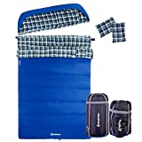 KingCamp All Season 5F/-15C Poly-Cotton Sleeping Bag Cotton Flannel Lining with Pillow (Queen, Adult, Youth Size)