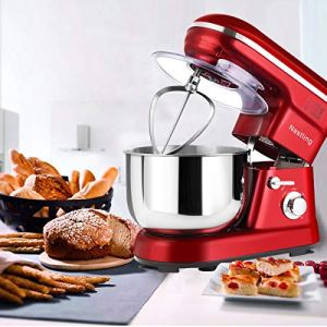 Nestling® 1200W Food Stand Mixer with 5L Bowl, 5 Speed Kitchen Electric,Includes Dough Hook, Whisk, Beater for Wheaten Food, Salad, Cake (Red) 514bVB17tPL