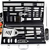ROMANTICIST 27pc BBQ Accessories Set with Thermometer - The Very Best Grill Gift for Everyone on Christmas - Heavy Duty Stainless Steel Grill Set in Case for Outdoor Cooking Camping Grilling Smoking