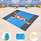 WORNEW Sand Free Beach mat, Quick Drying Ripstop Nylon Compact Outdoor Beach Blanket Best Sand Proof Picnic Mat for Travel, Camping, Hiking and Music Festivals (82''×79'')