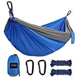 Kootek Camping Hammock Portable Indoor Outdoor Tree Hammock with 2 Hanging Straps, Lightweight Nylon Parachute Hammocks for Backpacking, Travel, Beach, Backyard, Hiking (Grey/Blue, S)