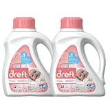 Dreft Stage 1: Newborn Hypoallergenic Liquid Baby Laundry Detergent (HE), 50 Ounces (32 Loads), 2 Count
