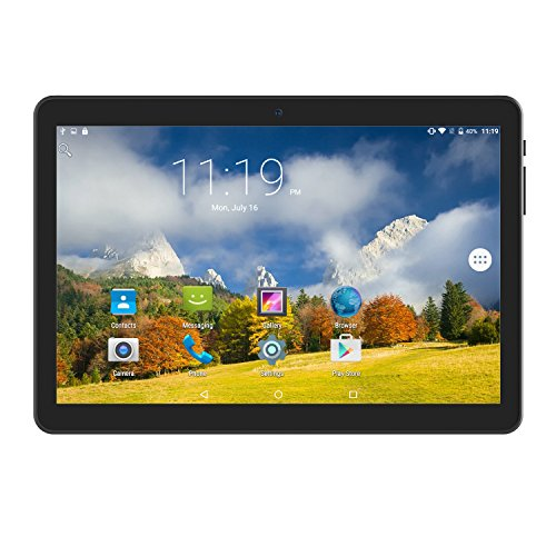 Tablet 10 Inch Android 6.0 Unlocked 3G Phablet Media Pad with Dual Sim Card Slots and 2MP+ 5MP Camera, WiFi, Bluetooth, GPS, Quad Core, HD Touchscreen, Support 3G Phone Call, Black