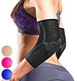 Sparthos Elbow Compression Sleeve (Pair) - Tendonitis Elbow Brace Golfer's Tennis Elbow Support for Men and Women - Arthritis Bursitis Treatment Youth Kids Athletic Sport Basketball (Black-M)