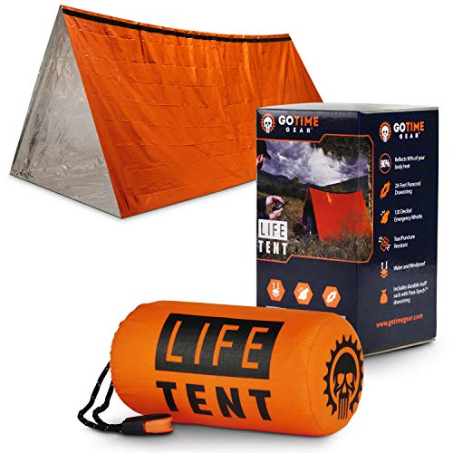 Go Time Gear Life Tent Emergency Survival Shelter - 2 Person Emergency Tent - Use As Survival Tent, Emergency Shelter, Tube Tent, Survival Tarp - Includes Survival Whistle & Paracord (Orange)