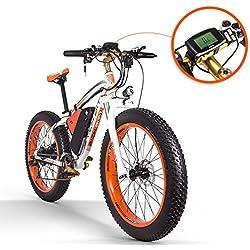 RICH BIT Electric Bike 1000W Motor 264.0 inch Fat Bike Snow Bike 48V17Ah Lithium Battery Men's Cycling Mountain Bike MTB Smart Bicycles (ORANGE)