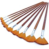 Artist Fan Paint Brushes Set 9pcs - Soft Anti-Shedding Nylon Hair Wood Long Handle Paint Brush Set for Acrylic Watercolor Oil Painting