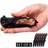 TAC-FORCE Engraved Set of 6 Tactical Assisted Opening Pocket Knives - Groomsmen, Fathers Day, Company, Event, Christmas Gifts   Perfect Personalized Gifts For Men   Set of 6