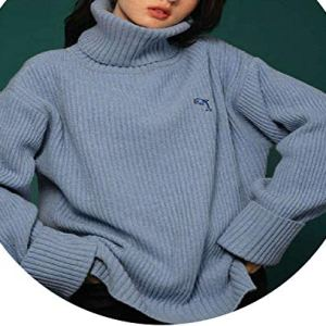 world-palm Women Oversize Basic Knitted Turtleneck Sweater Female Solid Turtleneck Collar Pullovers