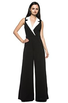 Women's Black White Tuxedo Collar Lapel V Neck Wide Leg Pant Suit Work Jumpsuit (Large)