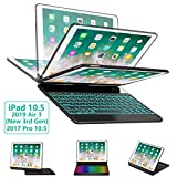 iPad Pro 10.5 Keyboard Case for iPad Pro 10.5 inch 2017 /iPad Air 10.5 (3rd Gen) 2019, 360 Rotate BT/Wireless Backlit Keyboard Case/Smart Auto Sleep-Wake Case/Ultra-Thin Keyboard Cover (Black)