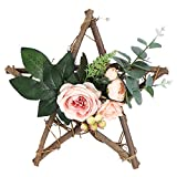 Simulation Home Decoration Wall Hanging Flower Wood Pentagram Pendant Wall Door Hanging Wreaths Christmas Decors
