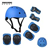SLA-SHOP Kids Boys and Girls Protective Gear Set, Outdoor Sports Safety Equipment 7Pcs Child Helmet Knee &Elbow Pads Wrist Guards for Roller Scooter Skateboard Bicycle(3-8Years Old) (Blue)