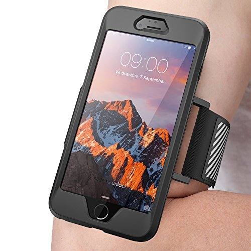 SUPCASE iPhone 7 Plus Armband, iPhone 8 Plus Armband, Easy Fitting Sport Running Armband Case with Premium Flexible Case Combo for Apple iPhone 7 Plus 2016 / iPhone 8 Plus 2017 (Black)