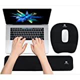 WB WEIRDBEAST Ergonomic Keyboard Wrist Rest Pad and Mouse Pad Hand Support for Laptop Computer Wrist Rest Support Cushion Nonslip Memory Foam Set for Office Gaming Easy Typing & Pain Relief - Black