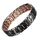 Mens Copper Bracelets 8.5' Link Adjustable SizePure Copper with Double Raw 3000Gauss Magnets Pain Relief for Arthritis and Carpal Tunnel Migraines Tennis Elbow