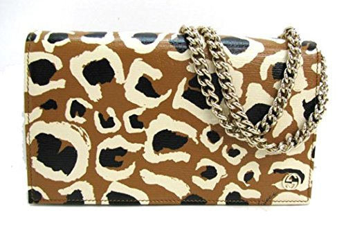 514toEqFdQL Gucci Leopard Print Leather Chain Cross Body Clutch Bag 354697 Textured leather material, light gold hardware with interlocking GG logo. Serial number embossed Dimensions 7.5 x 4.5 x 2 inches (lwh), chain cross-body shoulder strap with 24 inch strap drop.