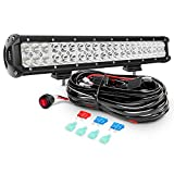 Nilight ZH006 Bar 20Inch 126W Spot Flood Combo Led Off Road Lights with 16AWG Wiring Harness Kit-2 Lead, 2 Years Warranty