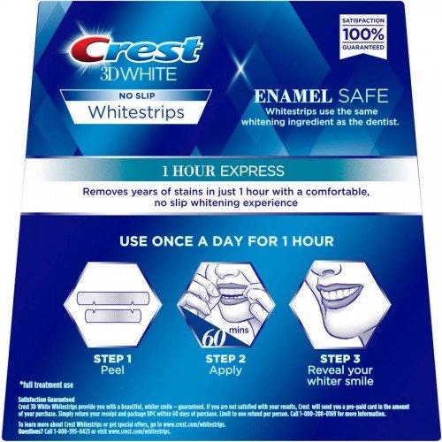 Crest 3d White 1-Hour Express Teeth Whitening Strips Kit, 8 Strips