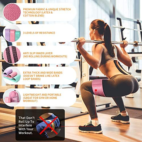 Hurdilen Resistance Bands Loop Exercise Bands Booty Bands,Workout Bands Hip Bands Wide Resistance Bands Hip Resistance Band for Legs and Butt,Activate Glutes and Thigh 8