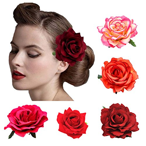 DRESHOW 5 Pack Flower Brooch Head Ornament Bride Women Rose Flower Hair Accessories Wedding Hair Clip Flamenco Dancer
