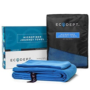 ECOdept Microfiber Travel Towel ~ Super Absorbent, Quick Dry & Antibacterial ~ Essential Backbacking, Camping, Gym, Sports, Swimming & Beach Gear ~ Large 52