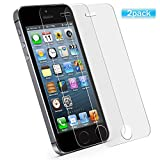 [2 Pack] Screen Protector Compatible iPhone 5/5C/5S/SE, Premium Tempered Glass with 9H Hardness [High Definition] [Anti-Fingerprint] Compatible iPhone 5, iPhone 5C, iPhone 5S, iPhone SE