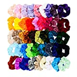 Chloven 45 Pcs Hair Scrunchies Velvet Elastics Bobbles Hair Bands Scrunchy Hair Tie Ropes Scrunchie for Women Girls Hair Accessories- 45 Assorted Colors Scrunchies