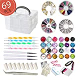 AIFAIFA 69PCS DIY Nail Art Tools Decoration Manicure Kit, Glitter Nail Rhinestones, Nail Sticker Decal, Nail Sequins, Ombré Sponge, Dotting Pen, Clean Brush, Nail Design Supplies Come with Gift Box