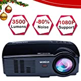 WiMiUS Projector, 3500 Lumens Full HD 1080P and 200'' Display Supported, Video Projector with 50,000 Hrs LED Life, Compatible with TV Stick, PS4, HDMI, VGA, AV, USB and Smartphones