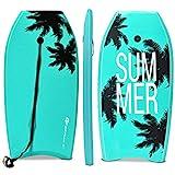 Goplus Super Bodyboard Body Board EPS Core, IXPE Deck, HDPE Slick Bottom with Leash (Green Coconut Palm, 33-inch)